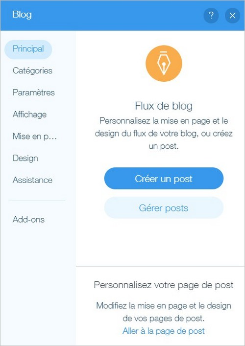 Options de gestion d'un blog sur Wix