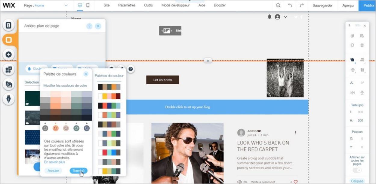 Personnaliser le design d'un site Wix