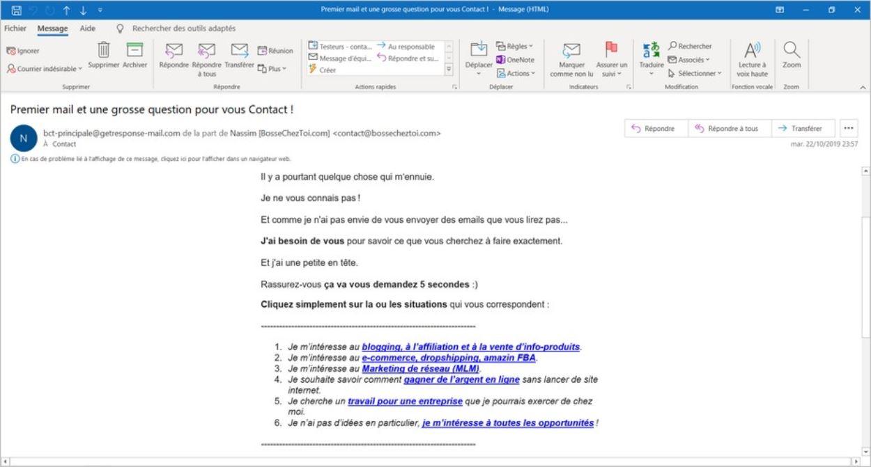 Premier email aux abonnés de la newsletter