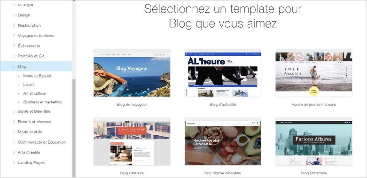 Template pour blog sur Wix