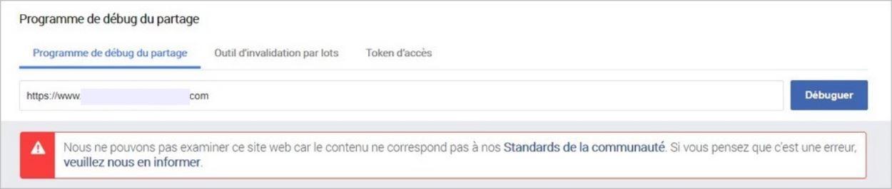 Erreur lors du partage Facebook