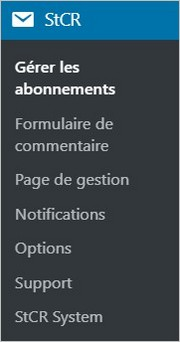 Menu du plugin Subscribe To Comments Reloaded