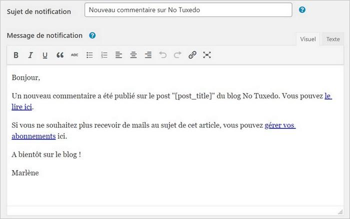 Message de notification de réponse à un commentaire sur WordPress