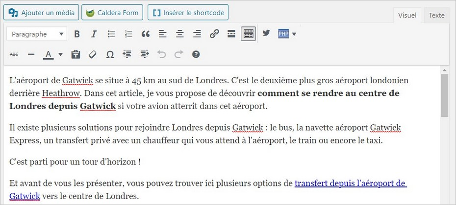 Modifier l'introduction de l'article
