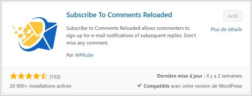Subscribe To Comments Reloaded - Notification de réponse à un commentaire
