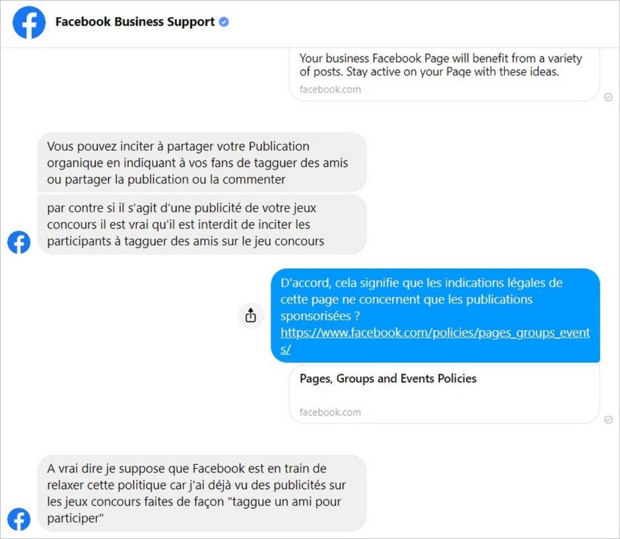 Discussion juridique avec Facebook