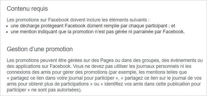 Extrait des CGU Facebook relatives aux concours