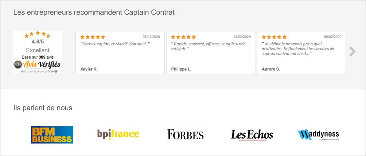 La preuve sociale sur le site de Captain Contrat