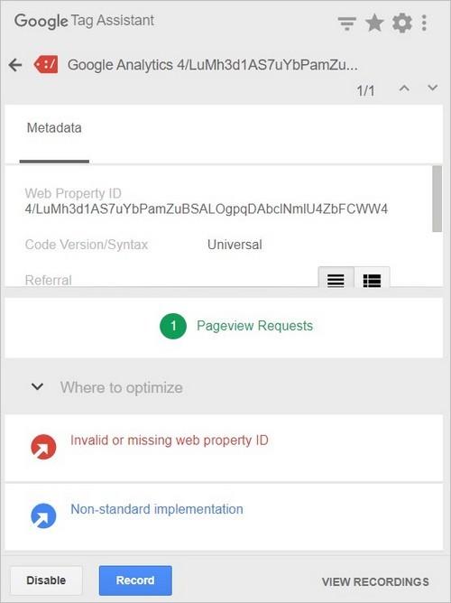 Erreur d'implémentation de Google Analytics - TagAssistant