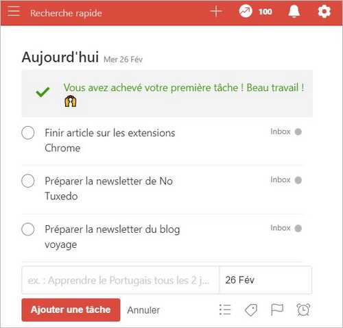 L'extension Todoist sur Chrome