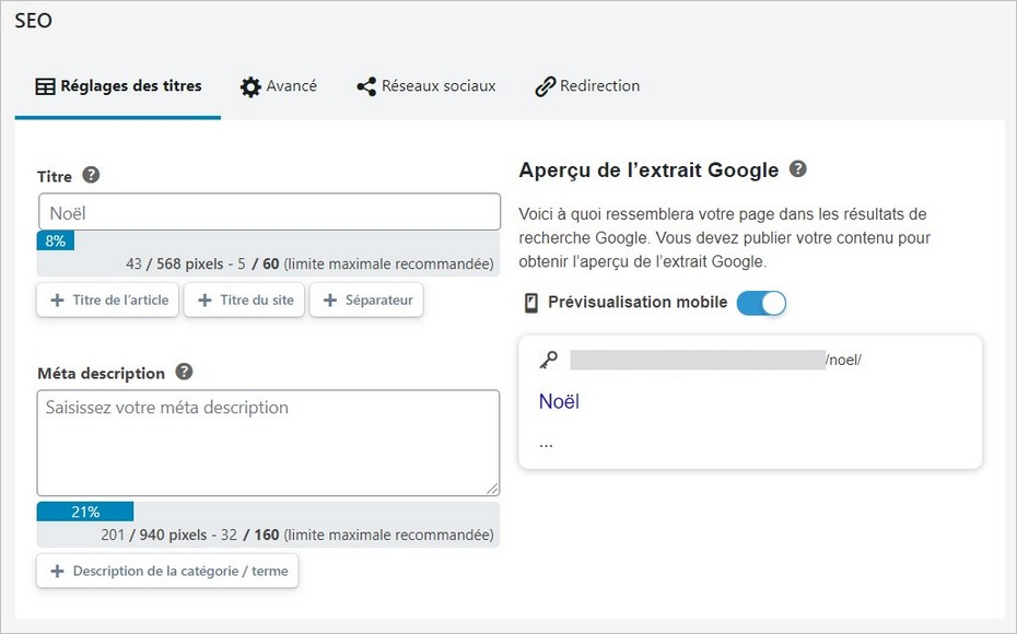 Optimisation SEO via l'extension SEOPress