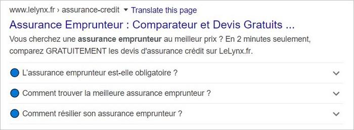 Une FAQ dans les résultats Google