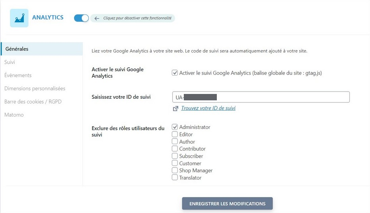 Google Analytics sur SEOPress