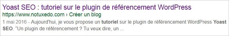 Balise title sur Google