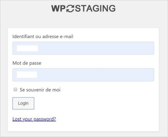 Connexion au staging WordPress
