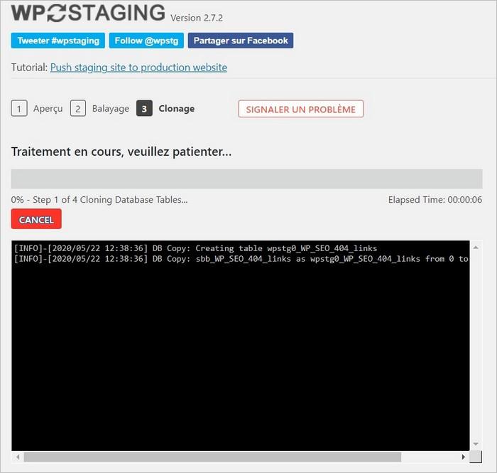Début du clonage du site avec WP Staging