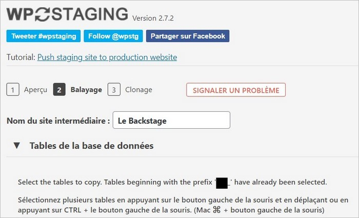 Paramètres du staging WordPress