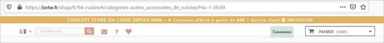 Filtres dans l'URL sur un site e-commerce