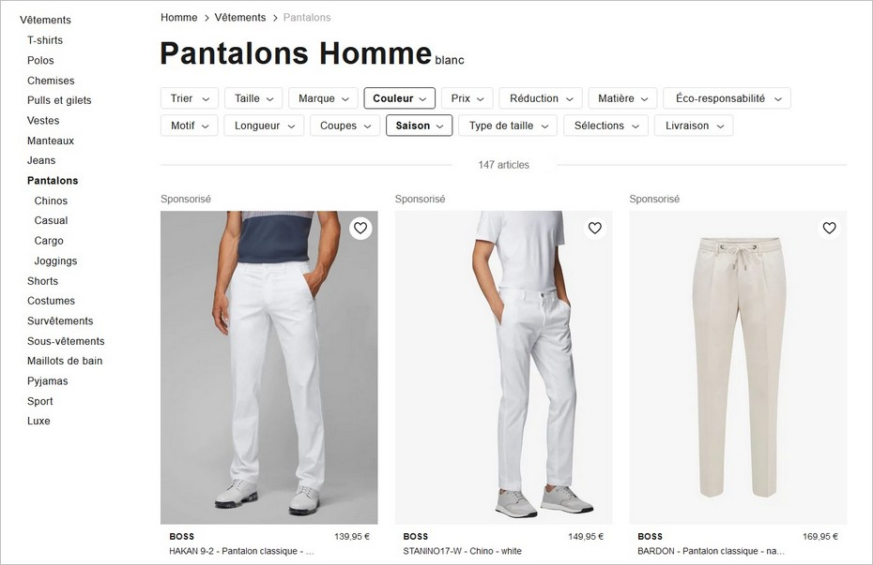 """La facette """"Pantalons blancs"""""""