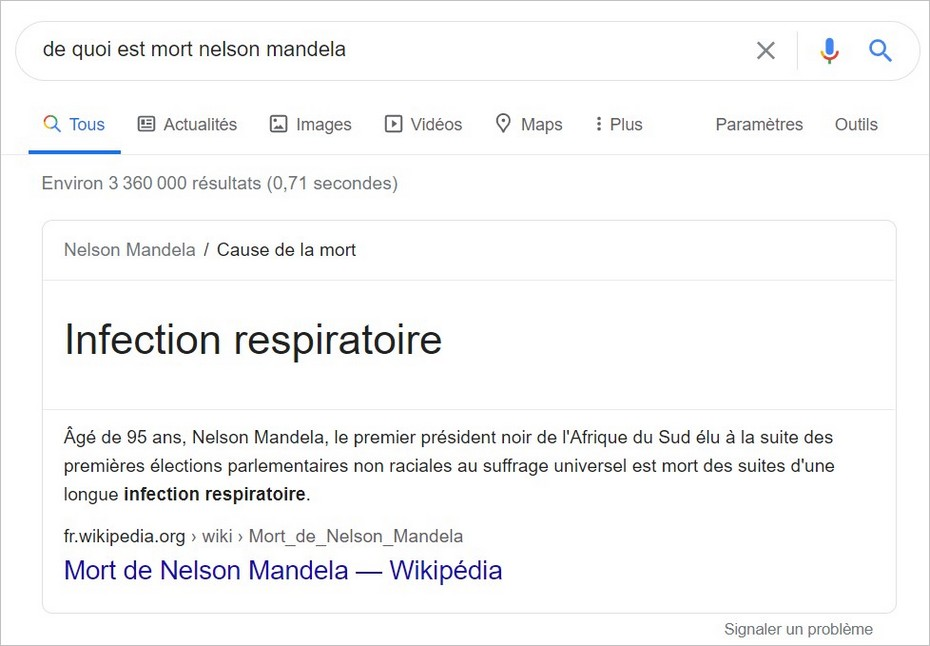 Exemple de requête Know Simple sur Google