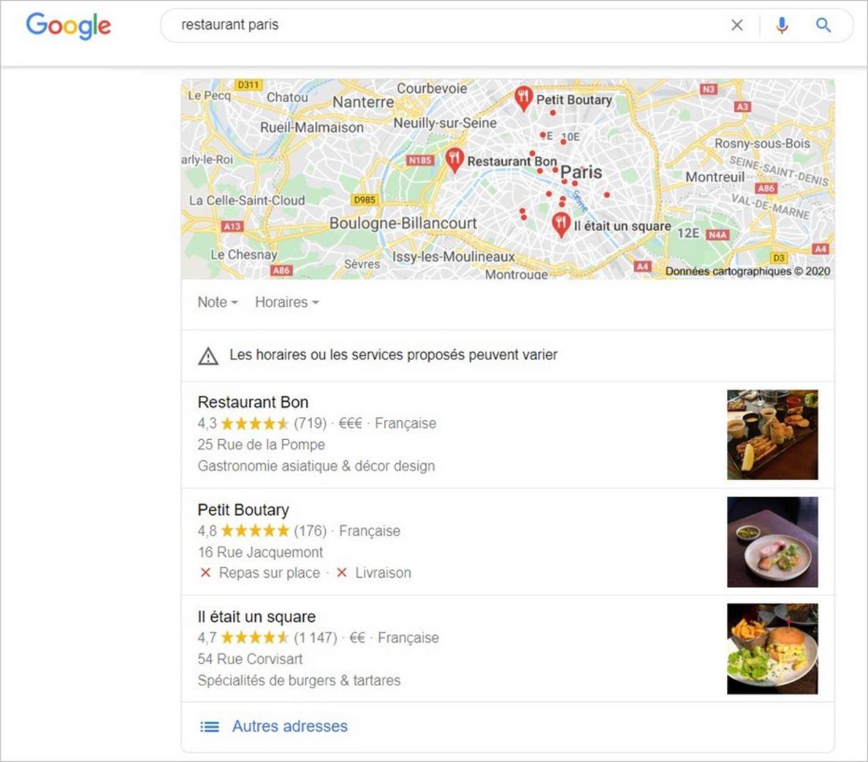 La recherche d'un restaurant