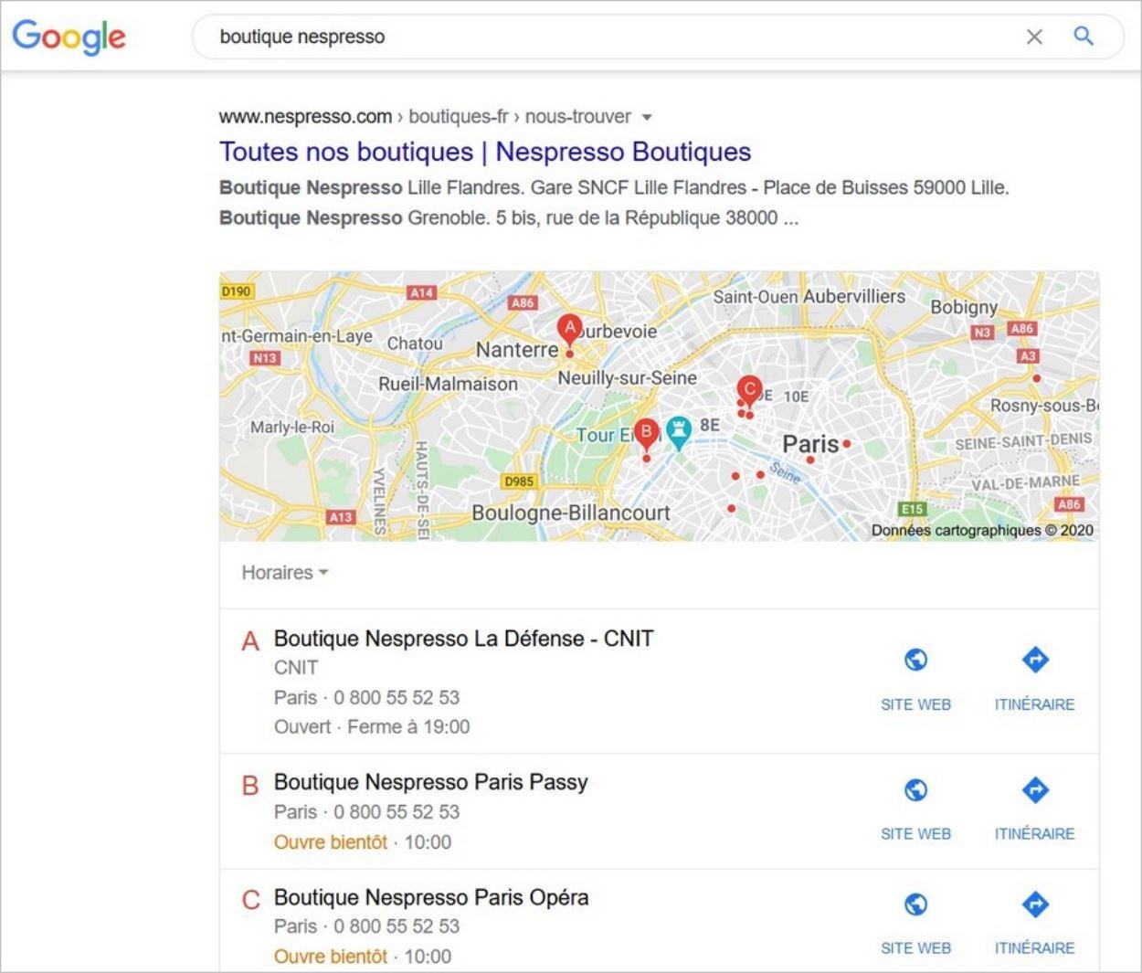 Requête locale sur Google
