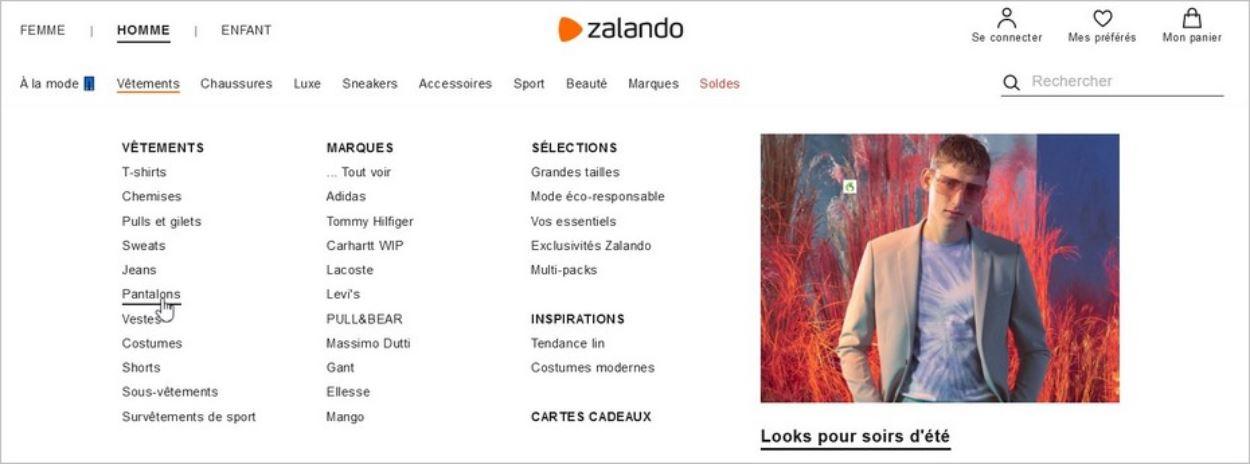 Accès à la rubrique Pantalons Homme sur Zalando