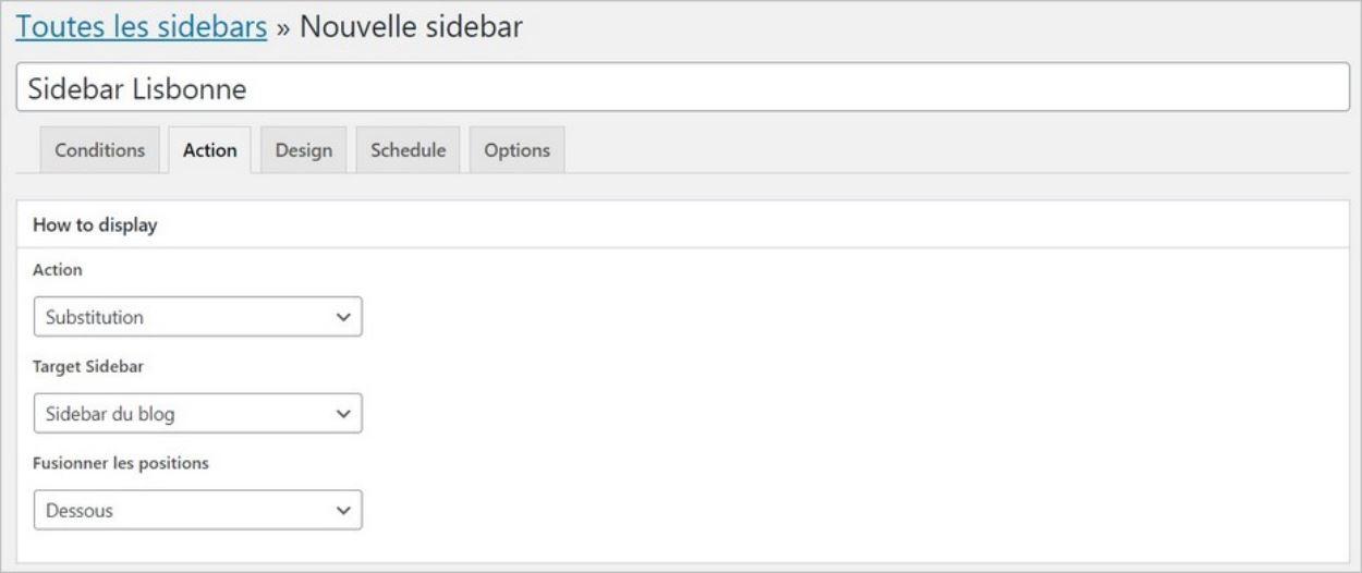 Actions sur la sidebar personnalisée