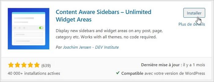 Installation de Content Aware Sidebars