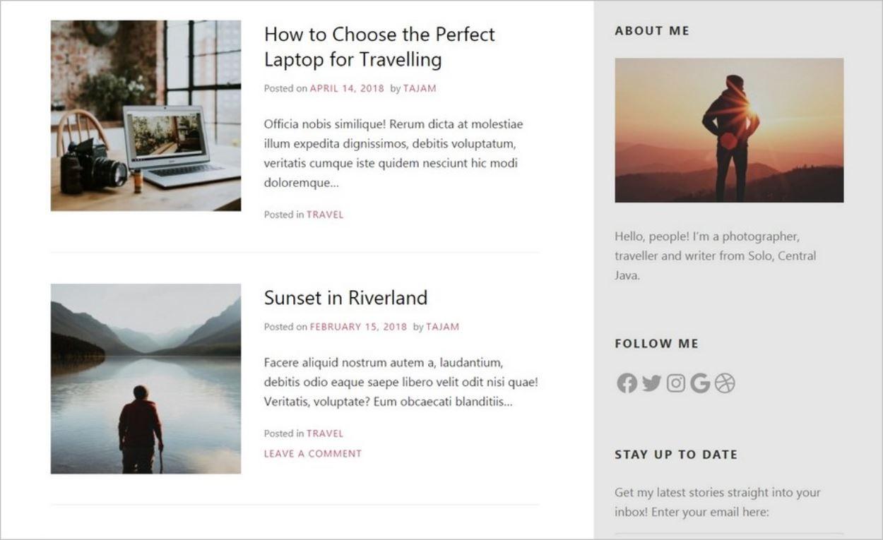 Sidebar (grisée) sur le thème WordPress gratuit Miniva