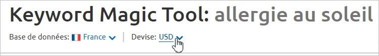 Changer la devise sur le Keyword Magic Tool