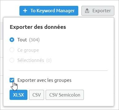 Exporter les données du Keyword Magic Tool sur Semrush