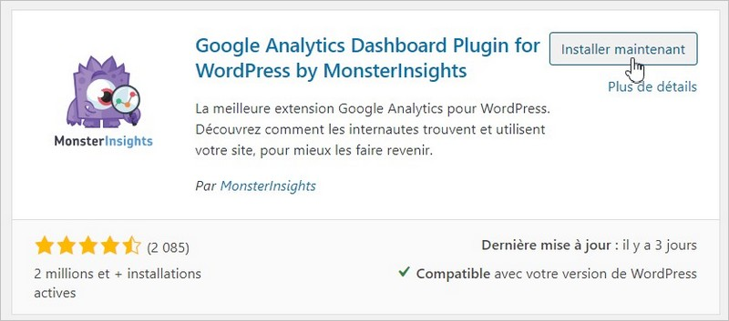 Monster Insights pour WordPress