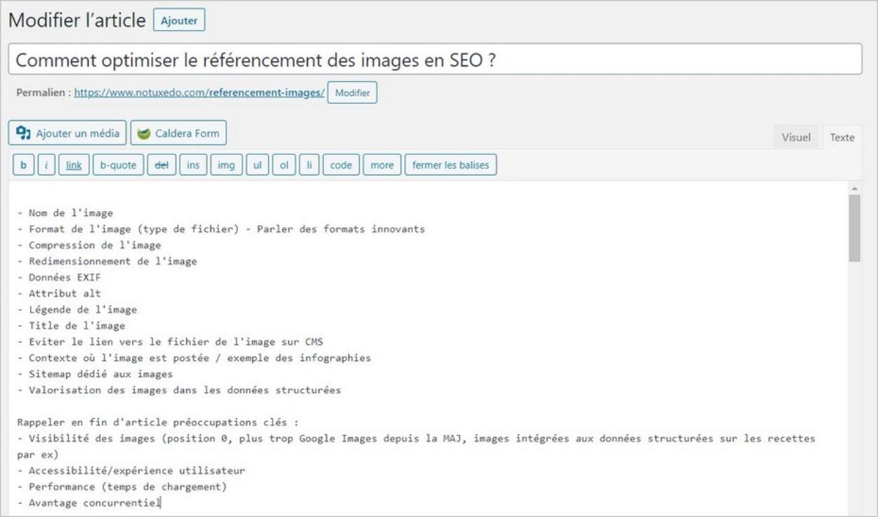 Comment optimiser un article en SEO : la structure