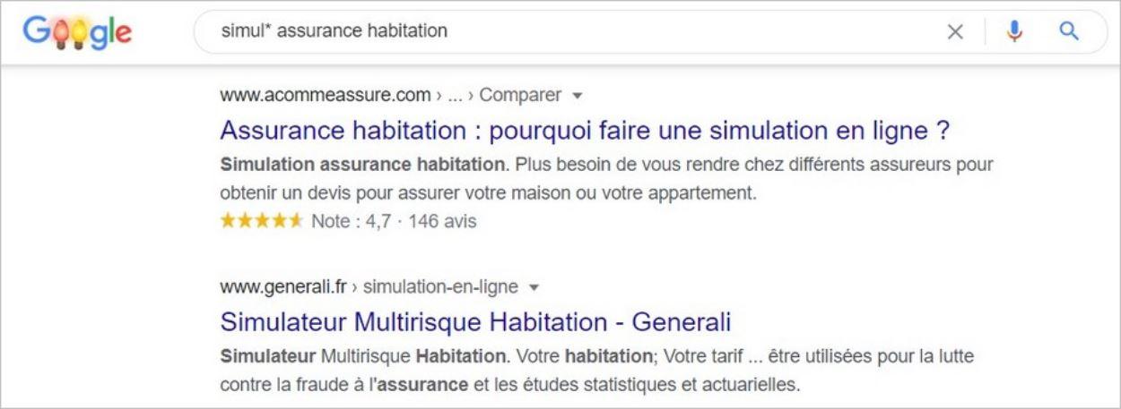Usage de l'astérisque dans une recherche Google