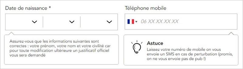 Astuces sur un formulaire d'inscription SNCF