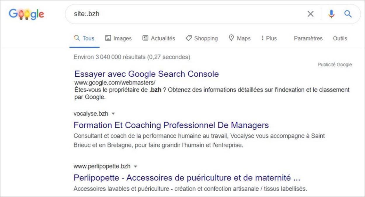 Commande site sur Google