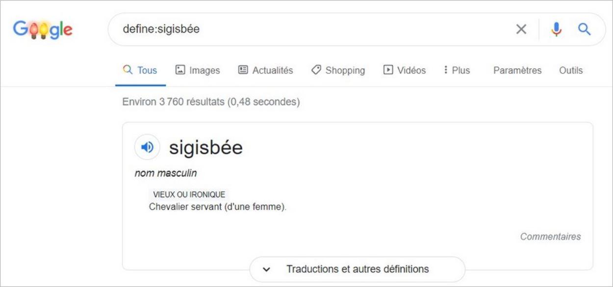 Définition d'un mot sur Google