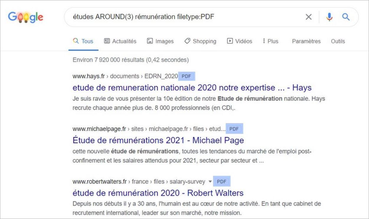 La commande filetype sur Google