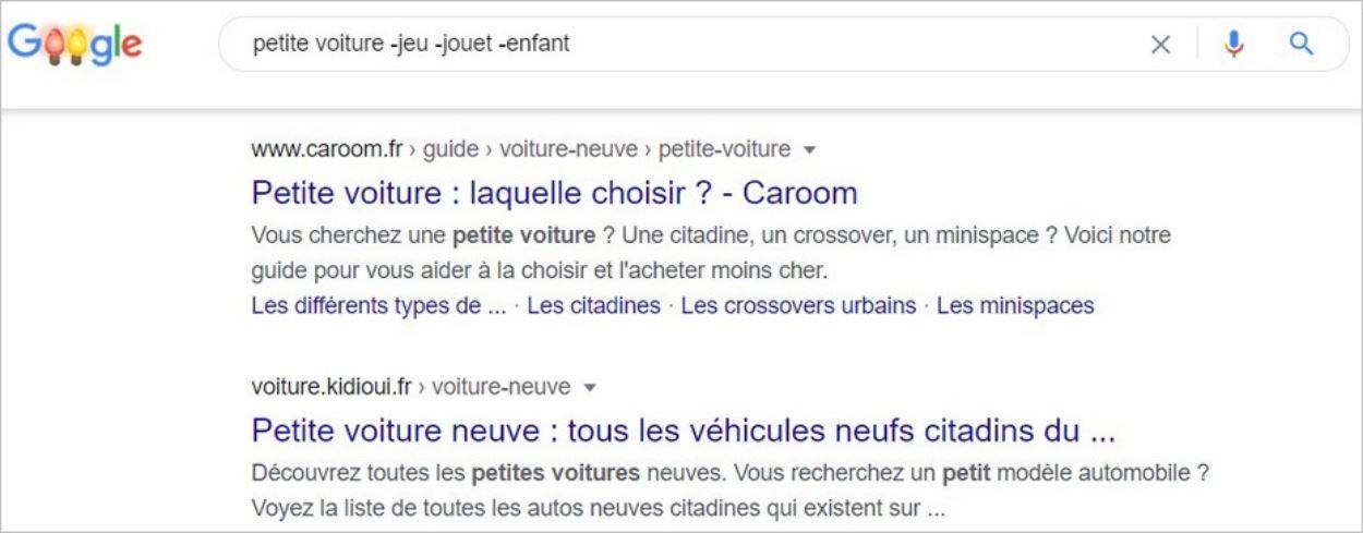 Exclure un mot-clé de la recherche Google