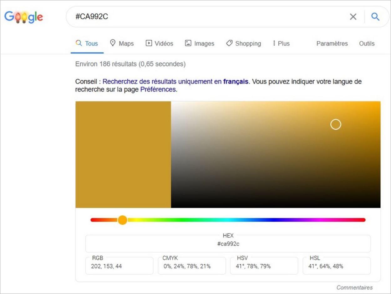 Recherche d'un code hexadécimal sur Google