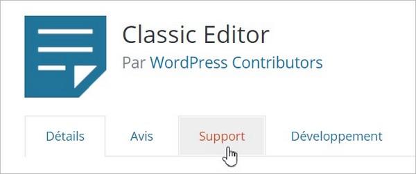 Accès au forum de support d'une extension WordPress