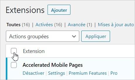 Sélectionner toutes les extensions WordPress