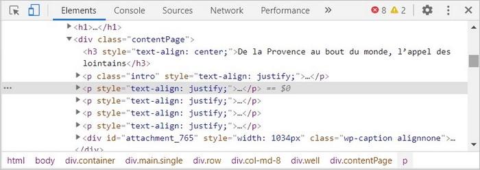 Le code d'une page web