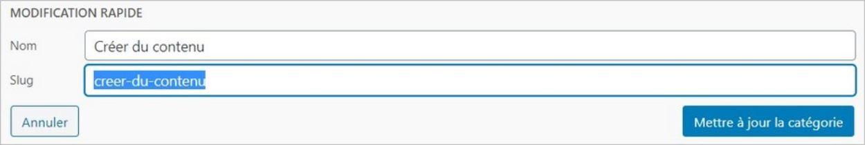 Slug d'une catégorie sur WordPress