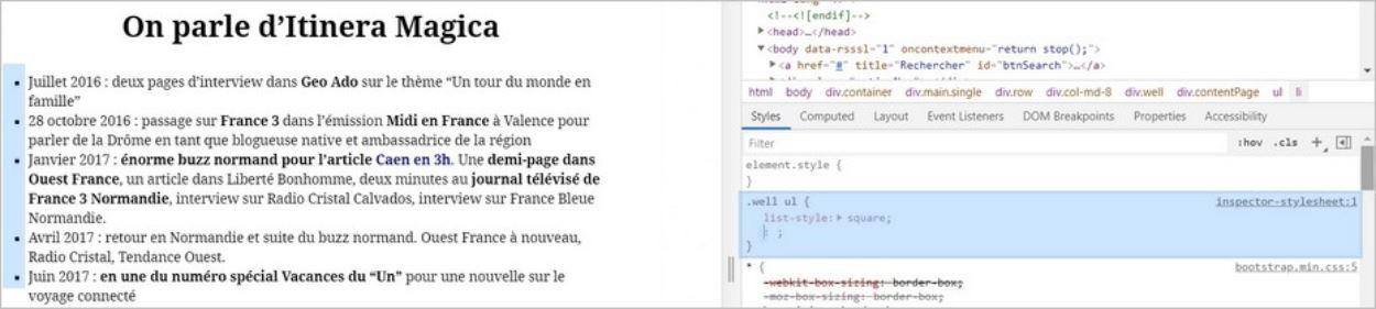 Puces carrées et code HTML