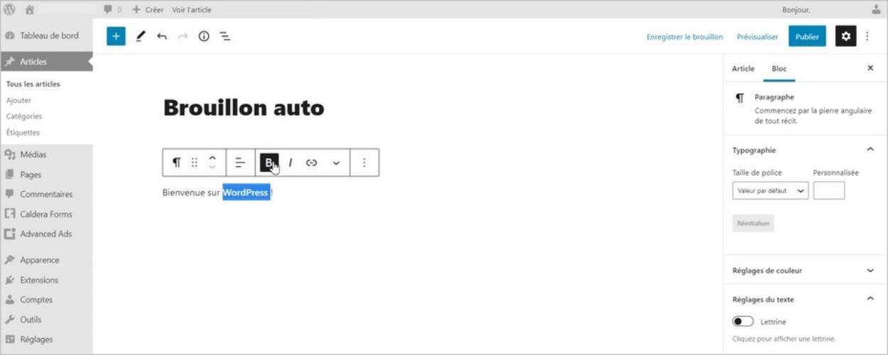 L'interface de WordPress