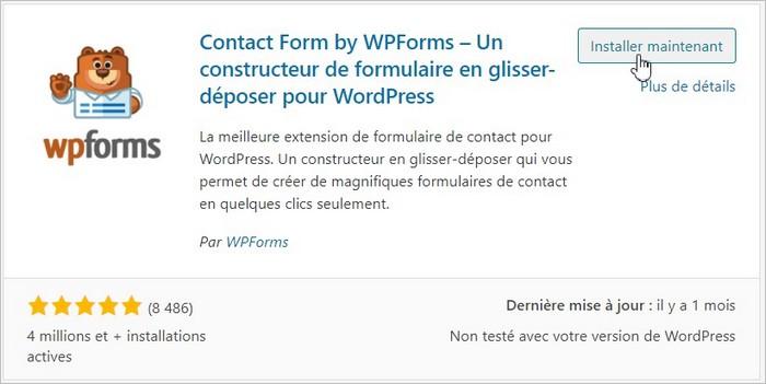 Installation du plugin de formulaire WPForms