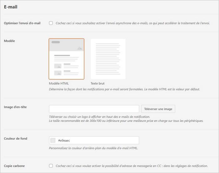 Réglages email sur WPForms