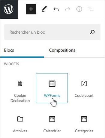 Le bloc WPForms dans l'éditeur Gutenberg